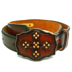 Justin Boots Mens Leather Brown Belt 34